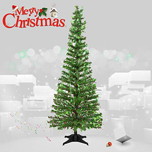 Joy&Leo 5 Foot Holly Leaf Berry Sequin Green Tinsel Christmas Tree, Collapsible, Easy to Assemble, for Small Spaces & Apartment & Fireplace & Party & Home & Office & Store & Classroom Decorations]()
