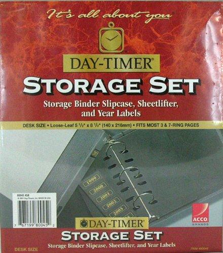 Day-Timer Storage Set Storage Binder Slipcase Sheetlifter & Year Labels Desk Size #80045