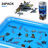 Winsenpro Bath Toys,24PCS Sea Animal with Inflatable Water Mat for Party Birthday Gifts,Realistic Sea Ocean An
