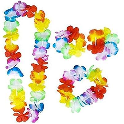republe 4PCS Set Hawaiian Leis Set Flower Garland Necklace Headband Wristband Hula Party Lady Men Dance Garland Estimated Price £1.49 -