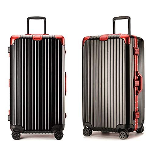 トロリーケース肥厚拡大大容量つや消しアルミフレームスーツケース搭乗ユニバーサルホイールスーツケース (Color : ブラック, Size : 26 inches)   B07R7SB229