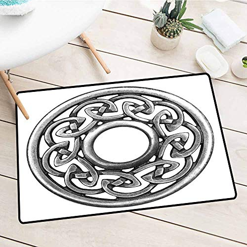 Door Mat for Home and Business Entrance, Celtic, Royal Style Circular Celtic Pattern Graphic Print Metal Brooch Design Scottish Shield, Silver, 35