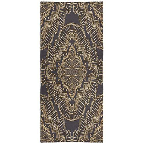 WAYATO Textile-Art Microfiber Beach Towel BeachBlanket Fast Dry Compact Beach Towels Geometrical Abstract Art Deco Pattern Gold and Black Swimming Gym Camping Sunbath 30x60 Inch