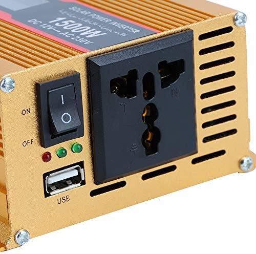 Solar Wechselrichter,Solar Inverter DC 12V bis AC 220V 1500W Wechselrichter Solar Wechselrichter für Home Travel Camping usw,LED Anzeige Wechselrichter Solar Konverter 50Hz