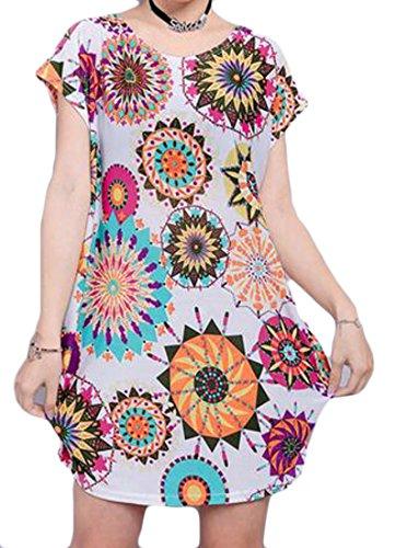 Grande Tang Womens Étoiles Imprimé Floral Lâche En Forme De Taille Plus Crewneck Déplacer Mini Robe White3