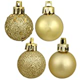 Vickerman 489642-1.6 Gold 4 Assorted Finish Ball Christmas Tree Ornament (96 pack) (N595468A)
