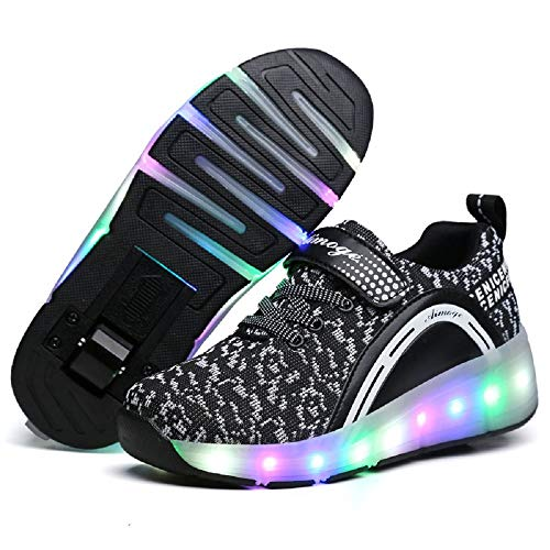 SDSPEED Kids Roller Skate Shoes with Single Wheel Shoes Sport Sneaker LED (Skate Shoes Roller)