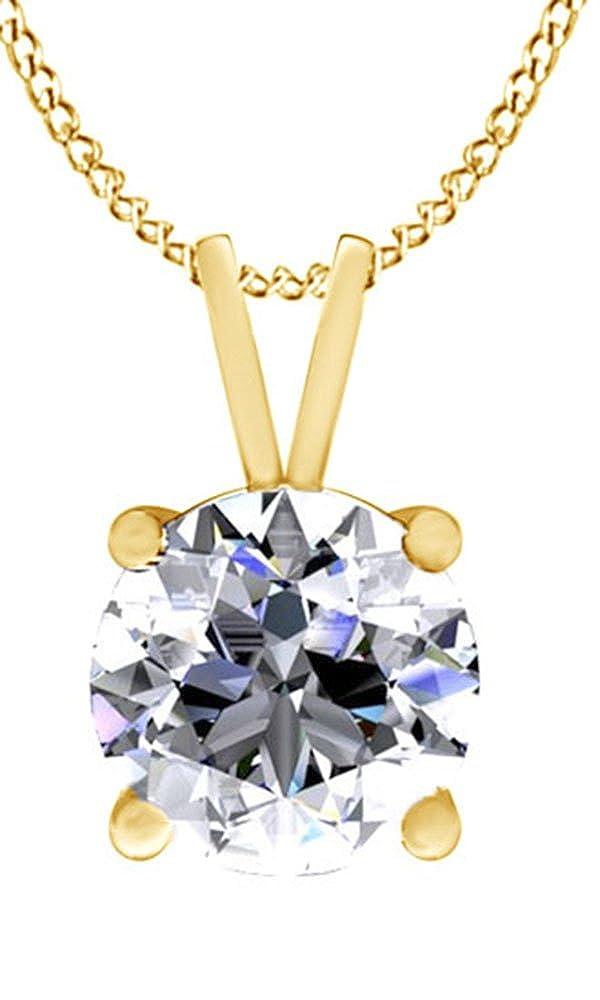 Weißszlig; Zirkonia Anhänger Halskette in 18 ct Gold über Sterling Silber (3 Karat) (Ring, 18 Karat verGoldet Sterling Silber) 18K gelbverGoldetes Silber