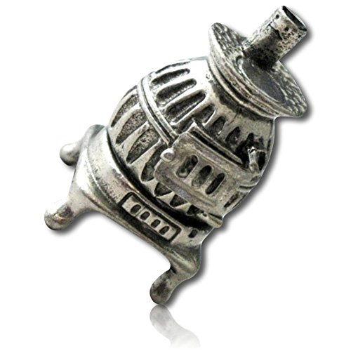 Custom & Collectible {25mm Hgt. x 19mm Dia.} 1 Single, Mid-Size Sewing Thimble Made of Fine-Grade Pewter Metal w/Shiny Metallic Old Fashion Vintage Pot Belly Cooking Burning Stove Design {Multicolor} from mySimple Products