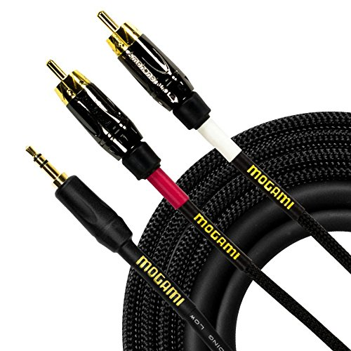 Mogami GOLD 3.5-2RCA-03 Stereo Audio Y-Adapter Cable, 3.5mm TRS Plug to Dual RCA Plugs, Gold Contacts, Straight Connectors, 3 Foot by Mogami