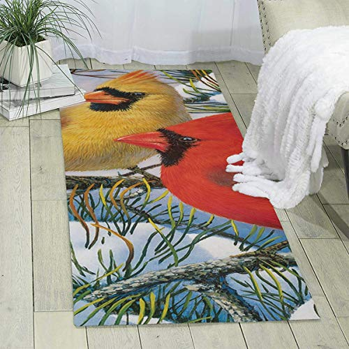 - Bghnifs Cardinal Wallpaper Print Area Rug Runner Rug Living Room Carpet Hallway Carpet Entry Rugs Room Bedroom Rugs, 70'' X 24''