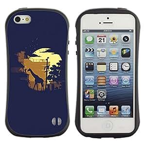 Fuerte Suave TPU GEL Caso Carcasa de Protección Funda para Apple Iphone 5 / 5S / Business Style Moonlight Safari Giraffe
