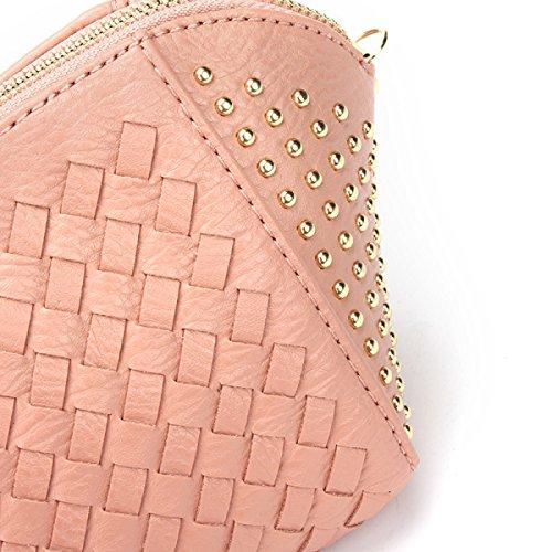 Otoño E Invierno Nueva Moda Simple Remaches Tejiendo Hombro Bolso Diagonal Paquete Shells Chica Pink