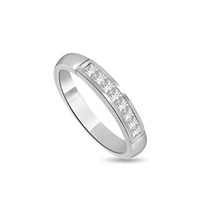 844249a34d 0.70ct H/SI1 Diamant Ewigkeit Memoire Ring für damen mit Prinzessschliff  diamanten in 18kt