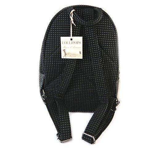 Bolsa de diseñador 'Lollipops'barniz negro - 36x27x12 cm.