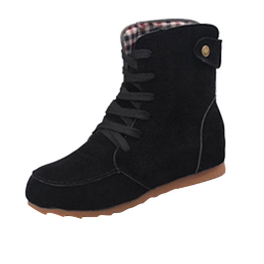 Creazy Women Flat Ankle Snow Motorcycle Boots Female Suede Leather Lace-Up Boot (Black, 39)