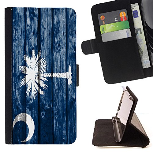 FJCases South Carolina The Palmetto State Wood Pattern Flag Slim Wallet Card Holder Flip Leather Case Cover for Samsung Galaxy J3 Emerge / Galaxy J3 Prime / Galaxy J3 Eclipse / Galaxy J3 Mission