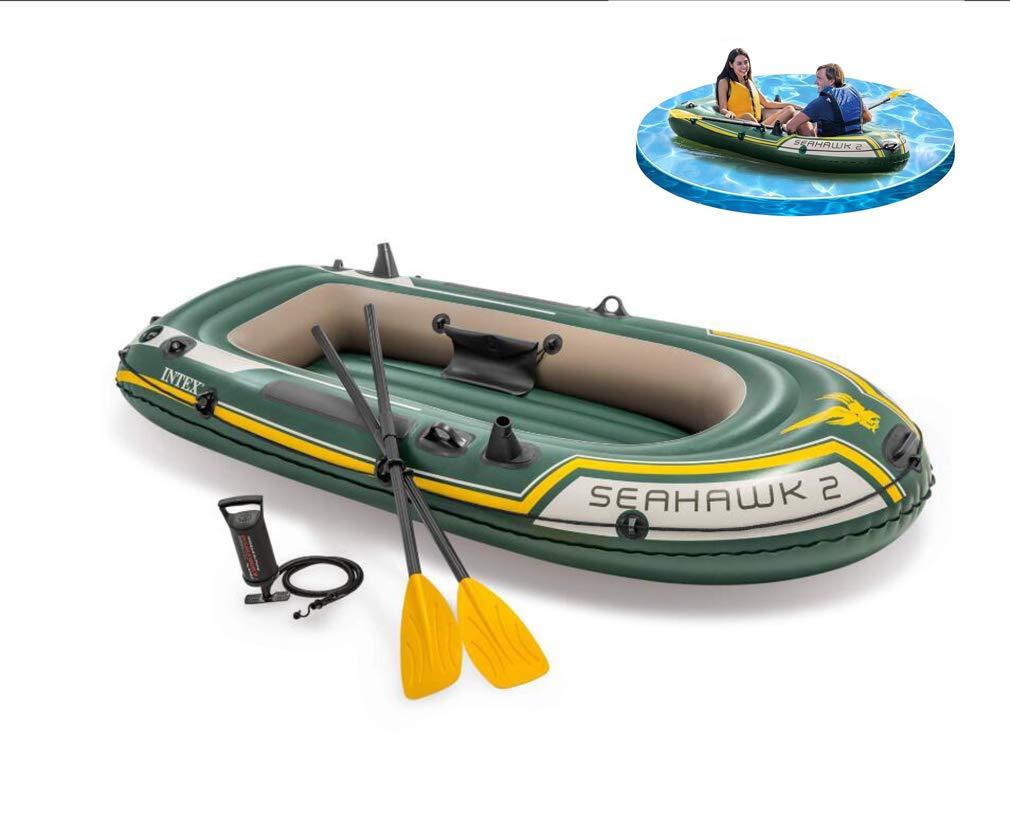 DUBAOBAO Barco de Pesca Inflable de 2 Personas con balsa Inflable y Remo, Tres diseño de cámara de Aire Independiente para garantizar la Seguridad, Deportes de Caucho Inflable de Exterior Barco