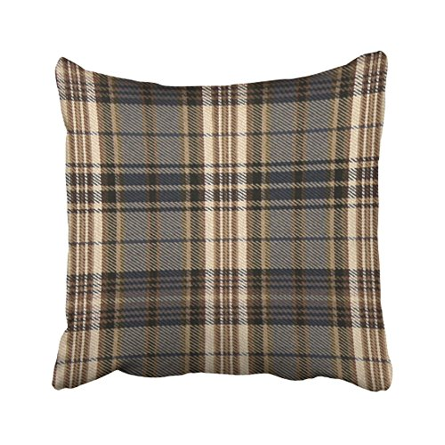 Emvency Throw Pillow Covers Plaid Tartan Brown Hue Pillowcases Polyester 18 X 18 Inch Square With Hidden Zipper Home Sofa Cushion Decorative (Tartan Pillow)