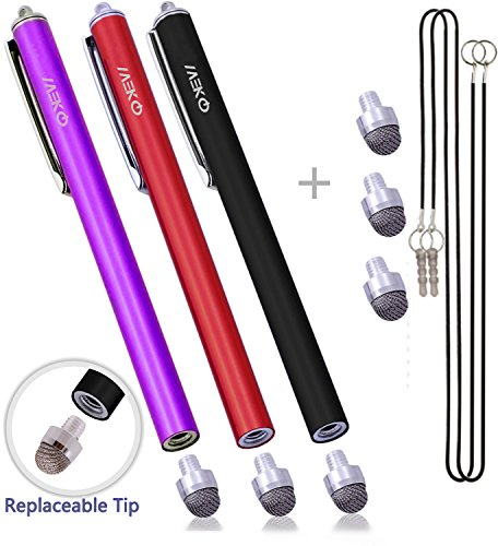 MEKO 0.3-inch Hybrid Tip Series 3 Packs Replaceable Micro-Fiber Tip Stylus Capacitive Touch Screen Pens With Extra 3 replacement Tips - (Black/Red/Purple)