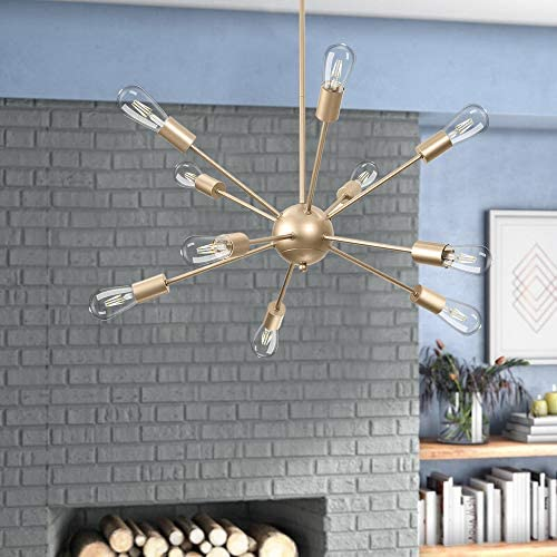 Wellmet Gold Sputnik Chandelier 10-Light