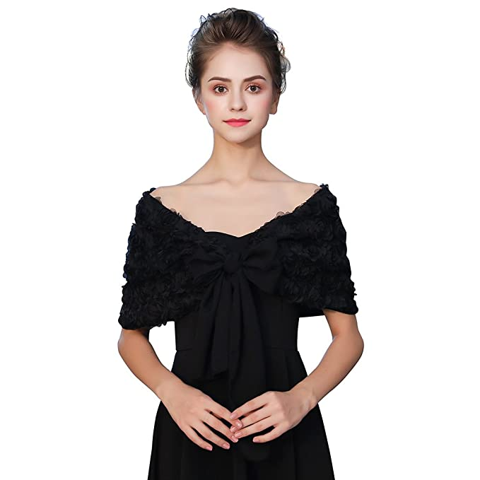 bf0f98f43b7 Kanrome Women s Black Embroidered Lace Evening Shawl Wraps Prom Cape Cover  Up Party Scarves For Dresses