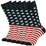 American Flag Socks, SUTTOS Mens Flag Casual Socks 4 of July American US Glory Flag Star Stripe Dress Suits Socks Men's Colorful American Flag Patriot Dress Socks for Groomsmen Back to School Socks,6 Pairs