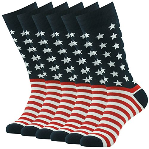 American Flag Socks Men, SUTTOS Mens fashion Wedding Socks Groomsmen Socks Flag Casual Socks USA Socks Kids 4 of July American US Glory Flag Star Stripe Dress Suits Socks Men's -