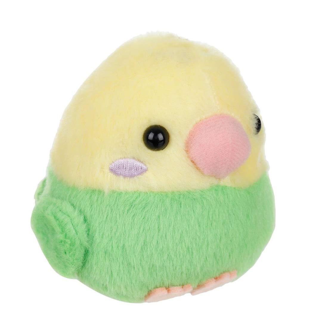 Amuse Parakeet 4 Plush Toy with Keychain Green//Yellow