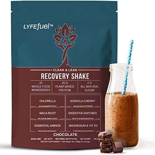 Meal Replacement Shakes for Weight Gain, Muscle Recovery & Muscle Building (Chocolate, 2lb) Clean Vegan Protein, BCAA…
