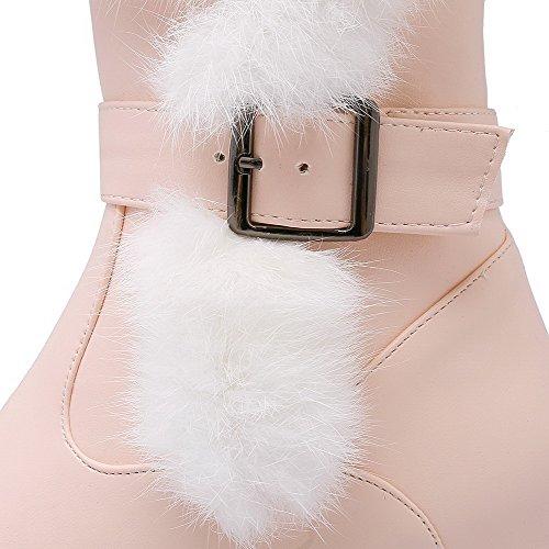 AgooLar Women's Low-top Zipper Soft Material Kitten-Heels Round Closed Toe Boots Pink 7ZdJMN