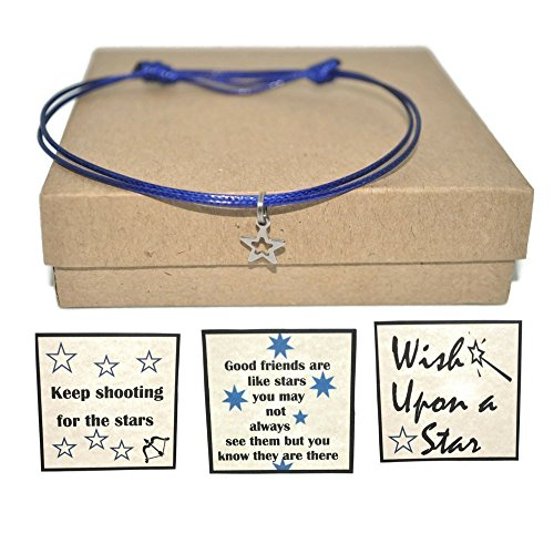 Minimalist stainless steel star cord bracelet and friendship, encouragement, or wish note card