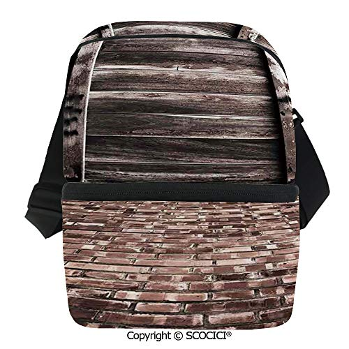 Aged Blended Wine - SCOCICI Reusable Insulated Grocery Bags Aged Cracked Striped Oak Boarded Plank Wall Back and Dated Brick Floor Picture Thermal Cooler Waterproof Zipper Closure Keeps Food Hot Or Cold