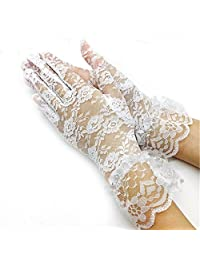 Lace Bridal Gloves Sexy Women Short Elegant Wedding Gloves For Lady Women Party (White)