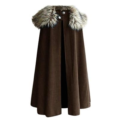 Eoeth Men's Fashion Celtic Wool Cape Coat Vintage Outwear Gothic Game of Thrones Jacket Overcoat Windbreaker: Clothing