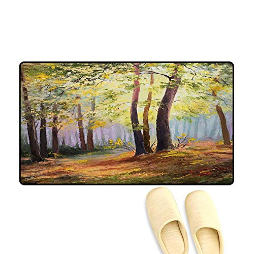 - Bath Mat,Image of Spring Landscape in Forest with Falling Leaf and Various Trees Mod Print,Doormat Outside,Brown Green,24