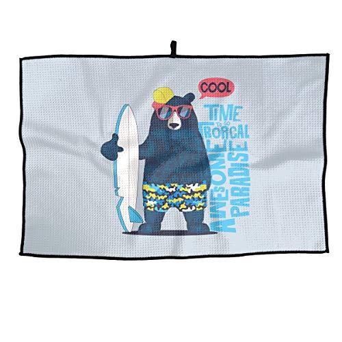 - Eplus Waffle Microfiber Golf Towel Light Weight & Quick Drying Cute Surfer Bear Cart Towel 15