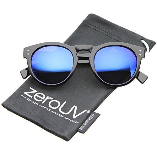 zeroUV - Retro Keyhole Nose Bridge Color Mirror Lens Round Horn Rimmed Sunglasses 48mm (Black / Blue - Keyhole Nose Bridge