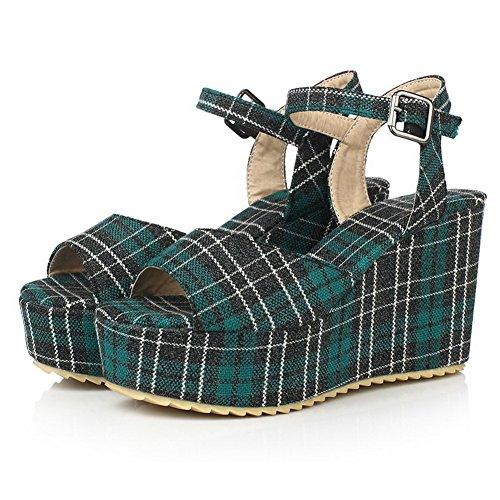 VogueZone009 Women's Buckle Open Toe High-Heels Satin Checkered Sandals Green NnPE5XguXr