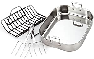 All-Clad 501631 Stainless Steel Large Roti Combo with Rack and Turkey Lifters Cookware, Silver