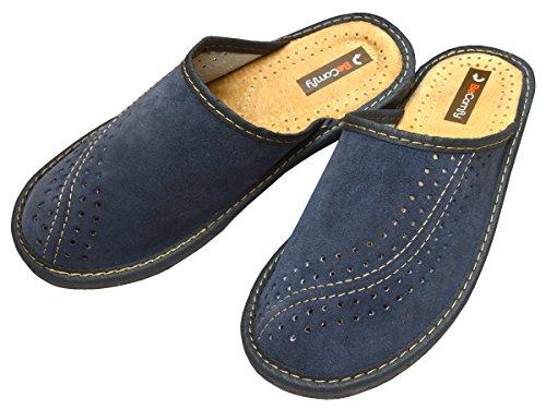 Bawal XC07 Pantoufles en cuir suédé pour homme - bleu - bleu, 41 EU