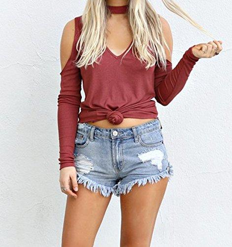 Dnude Tops Tricot paule Sexy Shirts Pulls Manches Rouge Longues T Col t Casual Shirts Fashion Chemisiers Slim Couleur Haut Blouse Femmes Unie Vin wxqXI0Y