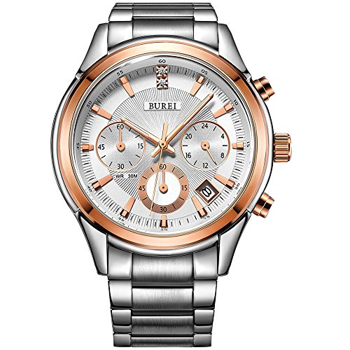 BUREI Mens Business Casual Elegant Chronograph Sports Watch with Genuine Leather/Stainless Steel Band (Rose Gold-Stainless Steel) -