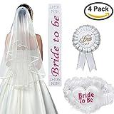 WOBBOX 4 PCS Premium Bride to be Decoration Set for Bachelorette Parties and Bridal Showers Supply (White Double Ribbon Edge Center Cascade Wedding Veil with Comb+Satin Sash+Rosette Badge+Lacy Garter)