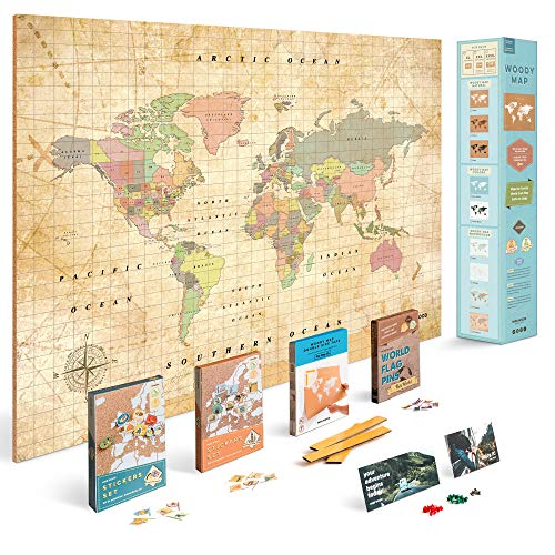 (Push Pin Travel Map Kit Includes: Cork World Travel Map, World Flags, Monument and Food Stickers, for Travelers (Old School, XL (23.6 x 35.4 inches)))