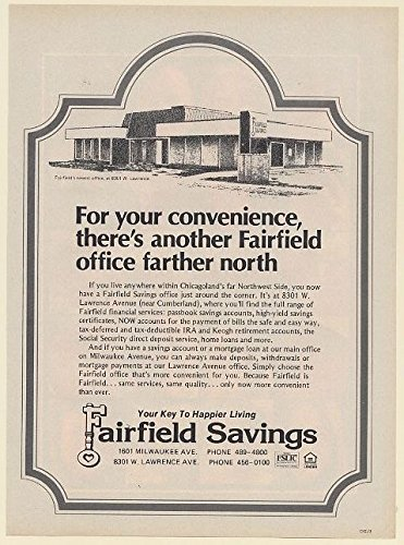 1978 Fairfield Savings Bank 8301 W Lawrence Northwest Chicago Print Ad  62296