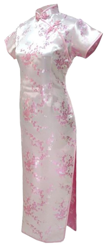 7Fairy Women's Vtg Pink Floral Long Chinese Evening Dress Cheongsam Size 2 US