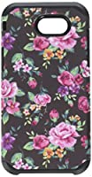 HR Wireless For Samsung Emerge J3 2017 Rubberized Design Slim Dual layer Hybrid Cases - Tropical Romantic Colorful Roses Floral