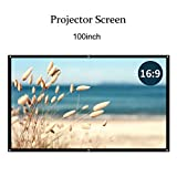 100 inch Projector Screen,16:9 Portable HD Home Theater Movie Screen 75° Viewing Angle Plastic Projection Screen for Indoor Outdoor Home Cinema Office Use