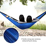MONOJOY® Double Outdoor Hammock Two Person Swing Bed Portable Camping Travel Parachute Nylon Fabric (Blue+Gray)